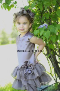 "sobella & Chloe ""Heather"" 2pc Warm Taupe Color Ruffle Hem Girls Dress"