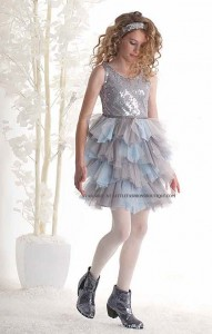 "Biscotti 'Spot On"" Silver & BlueTulle Skirt Sequined Holiday Dress"